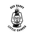 happy camper badge with quote our little camp and vector image