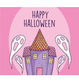 happy halloween celebration scary ghosts and vector image