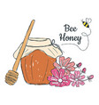 honey with flowers doodle vector image