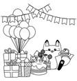 kawaii fox with happy birthday cake design vector image
