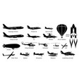 list different airplane aircraft aeroplane vector image