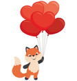little fox holding heart shaped balloons valentine vector image