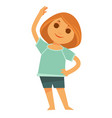 little redhead girl does morning exercises vector image