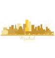 madrid spain skyline silhouette with golden vector image vector image