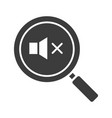 magnifying glass with loudspeaker glyph icon vector image vector image