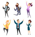 male and female happy businessmen in action poses vector image