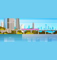 modern urban panorama subway train over river or vector image vector image