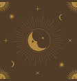 moon sun and stars seamless ornamental pattern vector image