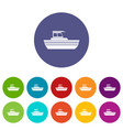 motor boat set icons vector image vector image