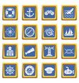 nautical icons set blue square vector image vector image