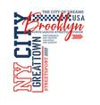ny city brooklyn sport typography design vector image vector image