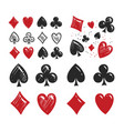 poker card suits set gambling game casino symbol vector image