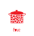 Pot with hearts Love card vector image vector image