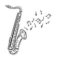 saxophone playing melody wind musical instrument vector image vector image
