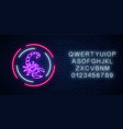 scorpio glowing neon sign in circle frames with vector image