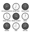 set clocks for timezone hour icon set vector image vector image