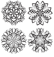 set of symmetrical patterns Snowflakes or flowers vector image