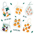 set reusable mesh bags with organic vegetables vector image