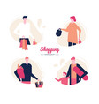 shopping - flat design style characters set vector image