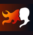 silhouette of a girl in profile with long hair vector image vector image