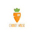 template logo design with carrot house for the vector image vector image