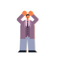tired businessman holding hands on head stressed vector image