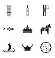 Tourism in Sweden icons set simple style vector image vector image