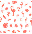 tropical leaves monstera and flamingo seamless vector image