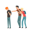 two teen students bullying another at school vector image vector image