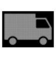 white halftone cargo van icon vector image