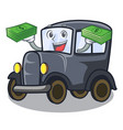 with money bag old cartoon car in side garage vector image vector image