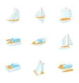 Yacht icons set cartoon style vector image vector image