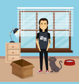 young man with cute mascot in the house vector image vector image