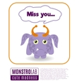 a monster saying miss you vector image