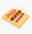 Asian snack skewers vector image