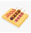 Asian snack skewers vector image vector image