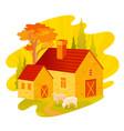 autumn fall landscape house feom four seasons vector image