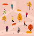 autumn park walking vector image vector image