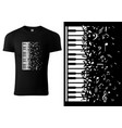black t-shirt design with piano keyboard vector image