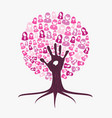 breast cancer awareness month pink help hand tree vector image vector image