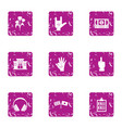 business friendship icons set grunge style vector image vector image
