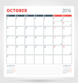 Calendar Planner for 2016 Year October Design vector image