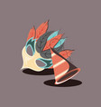 carnival mask with feathers and party hat retro vector image