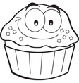 Cartoon smiling cupcake vector image