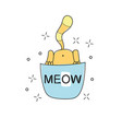 cat in blue pocket cute cartoon character vector image vector image