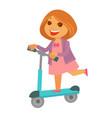 cheerful redhead girl in pink dress rides kick vector image vector image