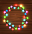 christmas round garland on wood background vector image vector image