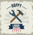 colorful poster of happy labor day with tools vector image vector image
