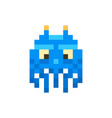 cute blue space invader monster game enemy vector image vector image