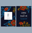 dark wedding invitation card with colored poppy vector image vector image